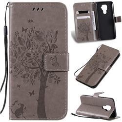 Embossing Butterfly Tree Leather Wallet Case for Huawei Mate 30 Lite(Nova 5i Pro) - Grey