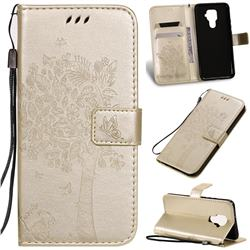 Embossing Butterfly Tree Leather Wallet Case for Huawei Mate 30 Lite(Nova 5i Pro) - Champagne