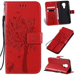 Embossing Butterfly Tree Leather Wallet Case for Huawei Mate 30 Lite(Nova 5i Pro) - Red