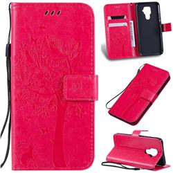 Embossing Butterfly Tree Leather Wallet Case for Huawei Mate 30 Lite(Nova 5i Pro) - Rose