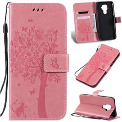 Embossing Butterfly Tree Leather Wallet Case for Huawei Mate 30 Lite(Nova 5i Pro) - Pink
