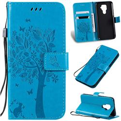 Embossing Butterfly Tree Leather Wallet Case for Huawei Mate 30 Lite(Nova 5i Pro) - Blue