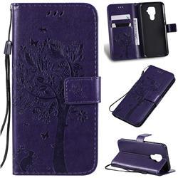 Embossing Butterfly Tree Leather Wallet Case for Huawei Mate 30 Lite(Nova 5i Pro) - Purple
