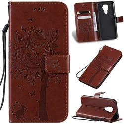 Embossing Butterfly Tree Leather Wallet Case for Huawei Mate 30 Lite(Nova 5i Pro) - Coffee