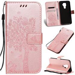 Embossing Butterfly Tree Leather Wallet Case for Huawei Mate 30 Lite(Nova 5i Pro) - Rose Pink