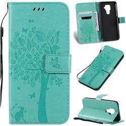 Embossing Butterfly Tree Leather Wallet Case for Huawei Mate 30 Lite(Nova 5i Pro) - Cyan