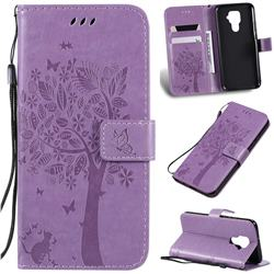 Embossing Butterfly Tree Leather Wallet Case for Huawei Mate 30 Lite(Nova 5i Pro) - Violet