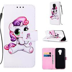 Playful Pony Matte Leather Wallet Phone Case for Huawei Mate 30 Lite(Nova 5i Pro)