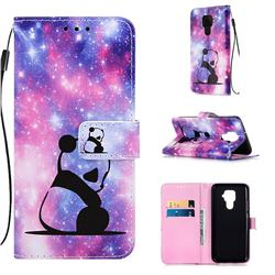 Panda Baby Matte Leather Wallet Phone Case for Huawei Mate 30 Lite(Nova 5i Pro)