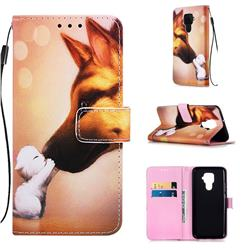 Hound Kiss Matte Leather Wallet Phone Case for Huawei Mate 30 Lite(Nova 5i Pro)