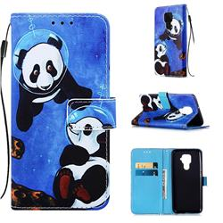 Undersea Panda Matte Leather Wallet Phone Case for Huawei Mate 30 Lite(Nova 5i Pro)