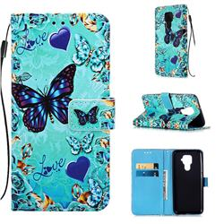 Love Butterfly Matte Leather Wallet Phone Case for Huawei Mate 30 Lite(Nova 5i Pro)