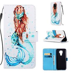 Mermaid Matte Leather Wallet Phone Case for Huawei Mate 30 Lite(Nova 5i Pro)