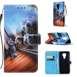 Mirror Cat Matte Leather Wallet Phone Case for Huawei Mate 30 Lite(Nova 5i Pro)