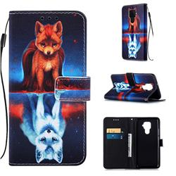 Water Fox Matte Leather Wallet Phone Case for Huawei Mate 30 Lite(Nova 5i Pro)
