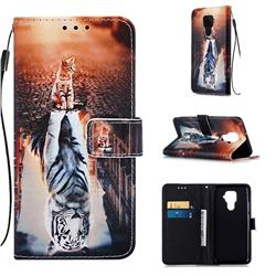 Cat and Tiger Matte Leather Wallet Phone Case for Huawei Mate 30 Lite(Nova 5i Pro)