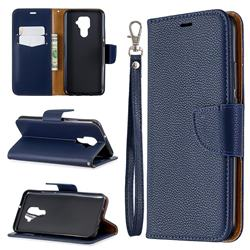 Classic Luxury Litchi Leather Phone Wallet Case for Huawei Mate 30 Lite(Nova 5i Pro) - Blue