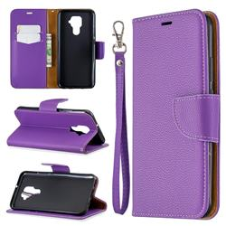 Classic Luxury Litchi Leather Phone Wallet Case for Huawei Mate 30 Lite(Nova 5i Pro) - Purple