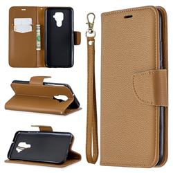 Classic Luxury Litchi Leather Phone Wallet Case for Huawei Mate 30 Lite(Nova 5i Pro) - Brown