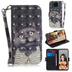 Cat Embrace 3D Painted Leather Wallet Phone Case for Huawei Mate 30 Lite(Nova 5i Pro)
