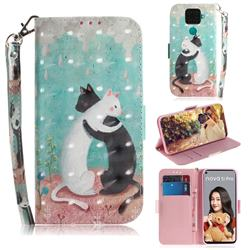 Black and White Cat 3D Painted Leather Wallet Phone Case for Huawei Mate 30 Lite(Nova 5i Pro)