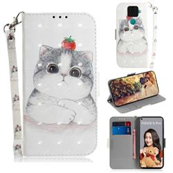 Cute Tomato Cat 3D Painted Leather Wallet Phone Case for Huawei Mate 30 Lite(Nova 5i Pro)