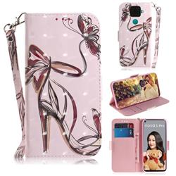 Butterfly High Heels 3D Painted Leather Wallet Phone Case for Huawei Mate 30 Lite(Nova 5i Pro)