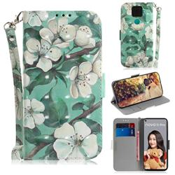Watercolor Flower 3D Painted Leather Wallet Phone Case for Huawei Mate 30 Lite(Nova 5i Pro)
