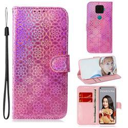 Laser Circle Shining Leather Wallet Phone Case for Huawei Mate 30 Lite(Nova 5i Pro) - Pink