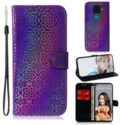 Laser Circle Shining Leather Wallet Phone Case for Huawei Mate 30 Lite(Nova 5i Pro) - Purple