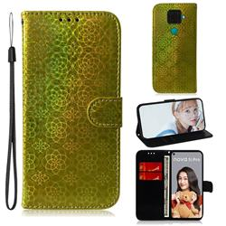Laser Circle Shining Leather Wallet Phone Case for Huawei Mate 30 Lite(Nova 5i Pro) - Golden