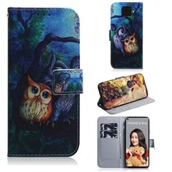 Oil Painting Owl PU Leather Wallet Case for Huawei Mate 30 Lite(Nova 5i Pro)