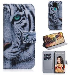 White Tiger PU Leather Wallet Case for Huawei Mate 30 Lite(Nova 5i Pro)