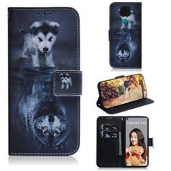Wolf and Dog PU Leather Wallet Case for Huawei Mate 30 Lite(Nova 5i Pro)