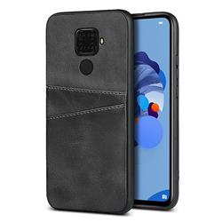 Simple Calf Card Slots Mobile Phone Back Cover for Huawei Mate 30 Lite(Nova 5i Pro) - Black