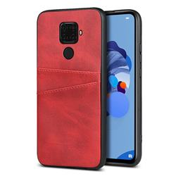 Simple Calf Card Slots Mobile Phone Back Cover for Huawei Mate 30 Lite(Nova 5i Pro) - Red