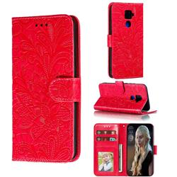 Intricate Embossing Lace Jasmine Flower Leather Wallet Case for Huawei Mate 30 Lite(Nova 5i Pro) - Red