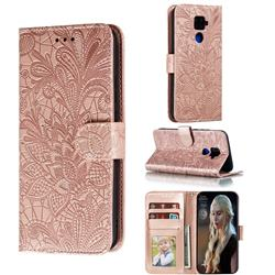 Intricate Embossing Lace Jasmine Flower Leather Wallet Case for Huawei Mate 30 Lite(Nova 5i Pro) - Rose Gold