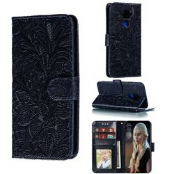Intricate Embossing Lace Jasmine Flower Leather Wallet Case for Huawei Mate 30 Lite(Nova 5i Pro) - Dark Blue