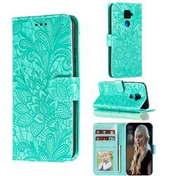 Intricate Embossing Lace Jasmine Flower Leather Wallet Case for Huawei Mate 30 Lite(Nova 5i Pro) - Green