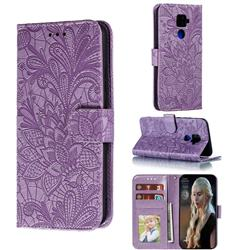 Intricate Embossing Lace Jasmine Flower Leather Wallet Case for Huawei Mate 30 Lite(Nova 5i Pro) - Purple