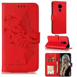 Intricate Embossing Lychee Feather Bird Leather Wallet Case for Huawei Mate 30 Lite(Nova 5i Pro) - Red