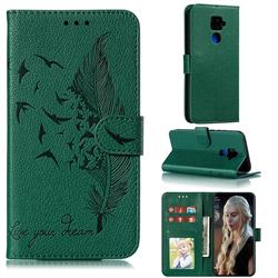 Intricate Embossing Lychee Feather Bird Leather Wallet Case for Huawei Mate 30 Lite(Nova 5i Pro) - Green