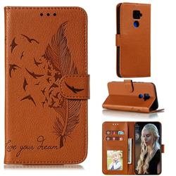 Intricate Embossing Lychee Feather Bird Leather Wallet Case for Huawei Mate 30 Lite(Nova 5i Pro) - Brown