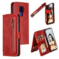 Multifunction 9 Cards Leather Zipper Wallet Phone Case for Huawei Mate 30 Lite(Nova 5i Pro) - Red