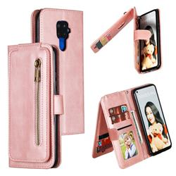 Multifunction 9 Cards Leather Zipper Wallet Phone Case for Huawei Mate 30 Lite(Nova 5i Pro) - Rose Gold