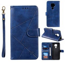 Embossing Geometric Leather Wallet Case for Huawei Mate 30 Lite(Nova 5i Pro) - Blue