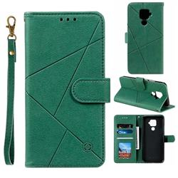 Embossing Geometric Leather Wallet Case for Huawei Mate 30 Lite(Nova 5i Pro) - Green