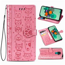Embossing Dog Paw Kitten and Puppy Leather Wallet Case for Huawei Mate 30 Lite(Nova 5i Pro) - Pink