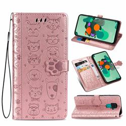 Embossing Dog Paw Kitten and Puppy Leather Wallet Case for Huawei Mate 30 Lite(Nova 5i Pro) - Rose Gold